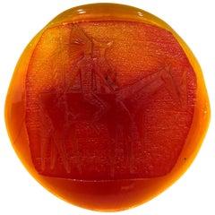 Rare Large Blenko Studio Amberine Glass Plaque Native American Indian & Horses