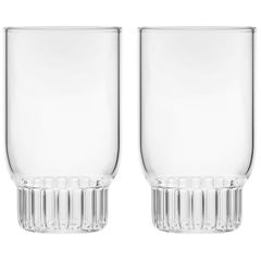 Set of Two Czech Clear Contemporary Rasori Small Wine Glasses, in Stock