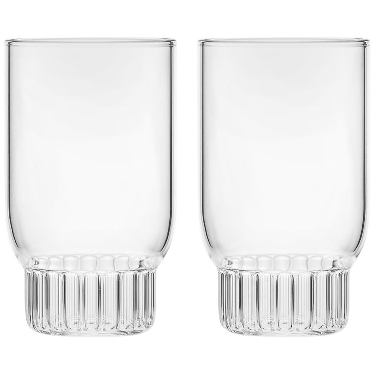 Set of Two Czech Clear Contemporary Rasori Small Wine Glasses, in Stock For Sale