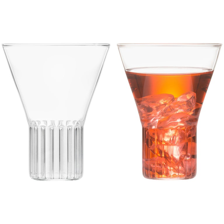 Set of Two Handcrafted Czech Clear Contemporary Rila Large Glasses, in Stock For Sale