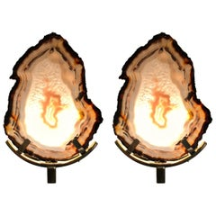 Unique Pair of Agate Stones and Brass Wall Lamps Sconces by Graziela Dias