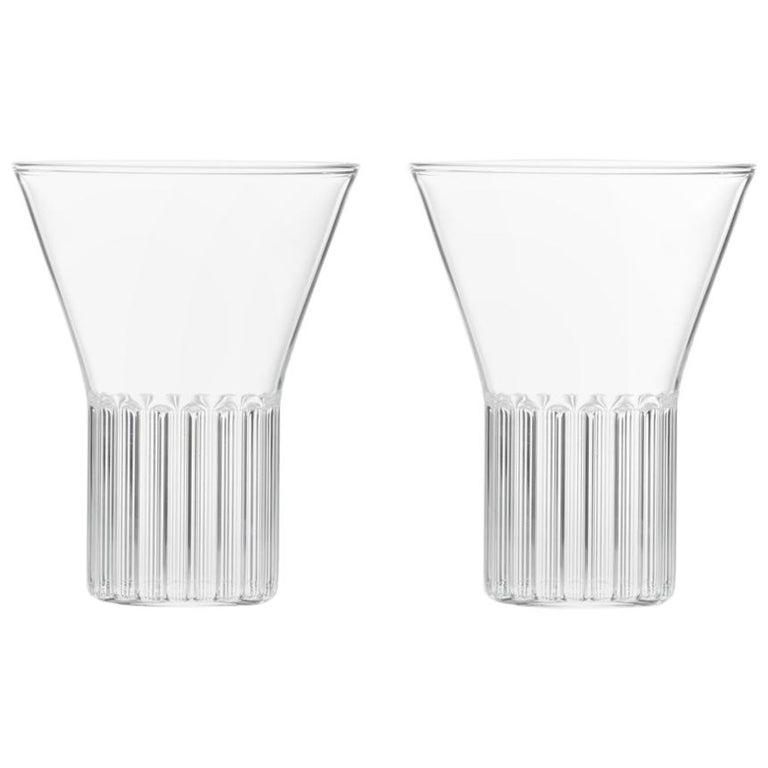 Set of Two Handcrafted Czech Clear Contemporary Rila Medium Glasses, in Stock For Sale