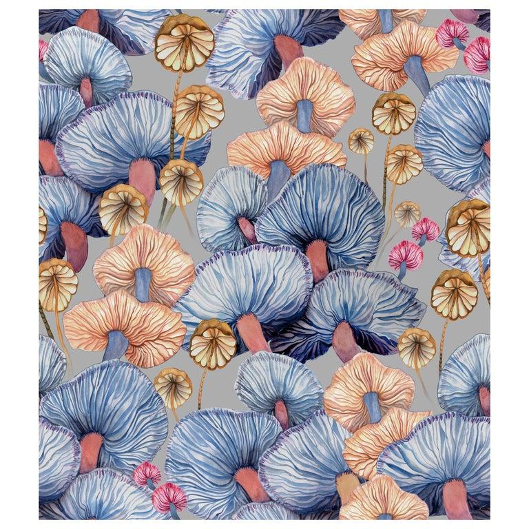 Moisseron Wallpaper or Custom Mural on Non-Woven Paper in Color Haze, Blue