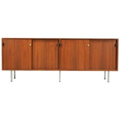 Florence Knoll Credenza with Chrome Legs and Leather Pulls