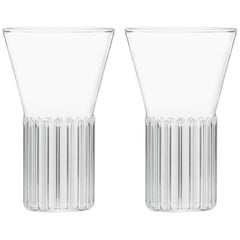 Set of Two Handcrafted Czech Clear Contemporary Rila Small Glasses, in Stock