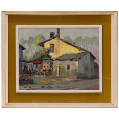 Italian Popular Scene Painting Oil on Board from 20th Century