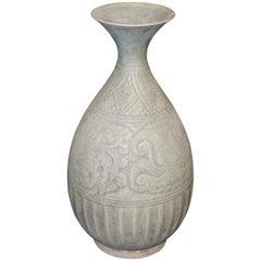 18th Century Handmade Pale Grey Vase, Cambodia