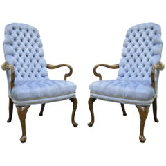 Vintage Queen Anne Ethan Allen Blue Tufted Library Office Lounge Armchairs, Pair