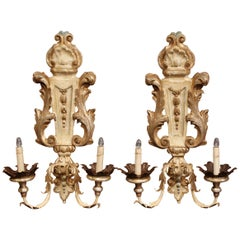 Pair of Italian Hand-Carved and Metal Polychrome Painted Two-Light Wall Sconces