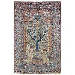 Persian Pictorial Tabriz Prayer Rug