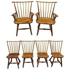 Hunt Country Furniture Pine and Oakwood Chairs, Hickory Style Set of Six