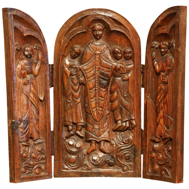 Early 20th Century French Hand Carved Oak Free Standing Triptych