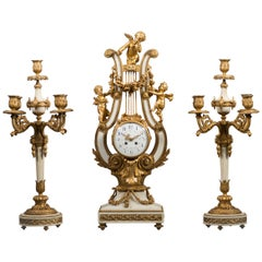 Large 19th Century French Gilt Bronze and Marble Lyre Shaped Clock Garniture