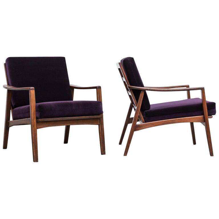 Pair of Midcentury Lounge Chairs in Amethyst Velvet