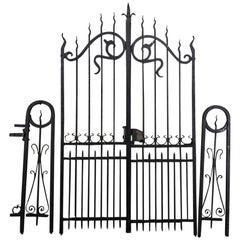 French Antique Art Nouveau Period Wrought Iron Gate Set