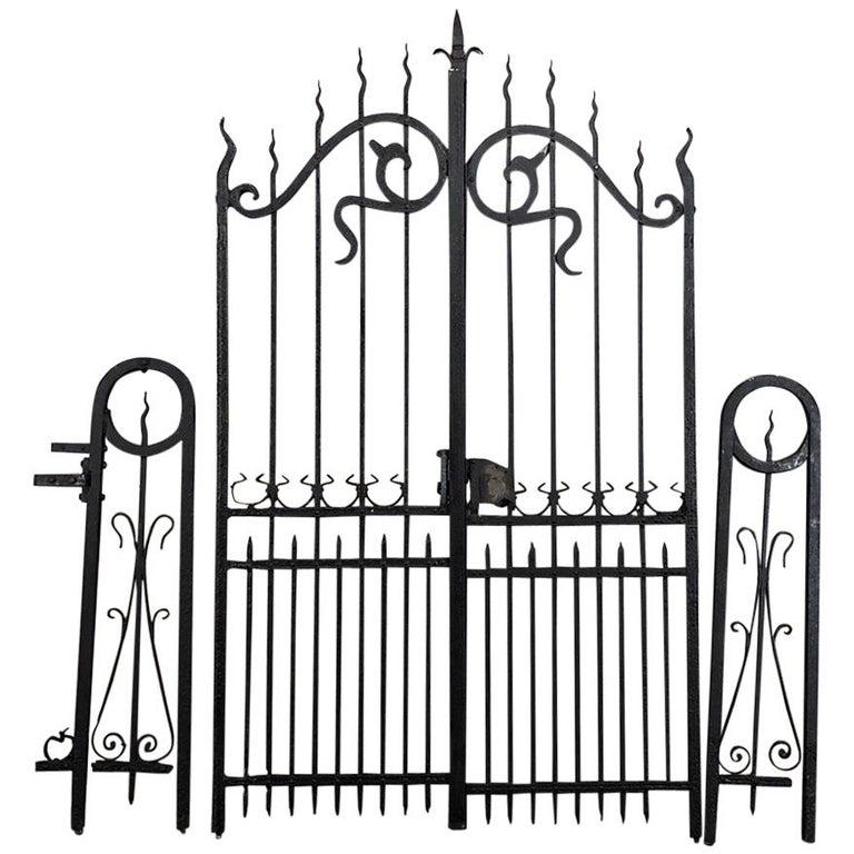 French Antique Art Nouveau Period Wrought Iron Gate Set