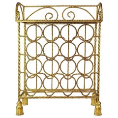Italian Hollywood Regency Gold Gilt Wine Rack