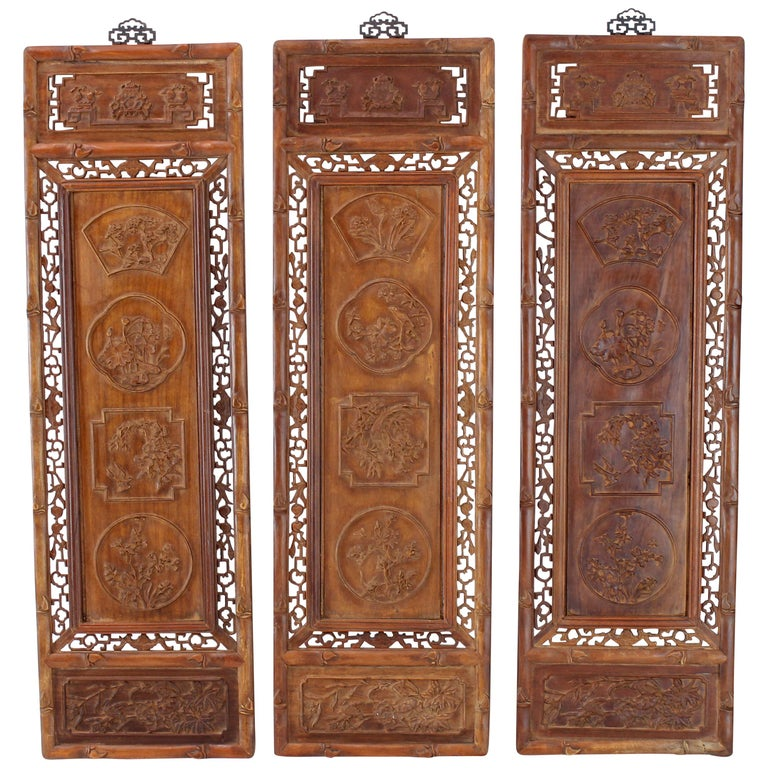 Set of Three Asian Carved Wall Panels