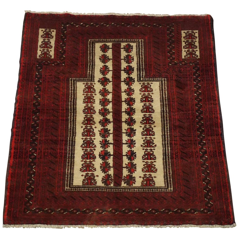 Square Tribal Turkoman Prayer Rug, circa 1960