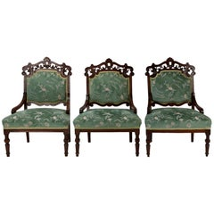 Beech Carved Armchairs, Late 19th Century