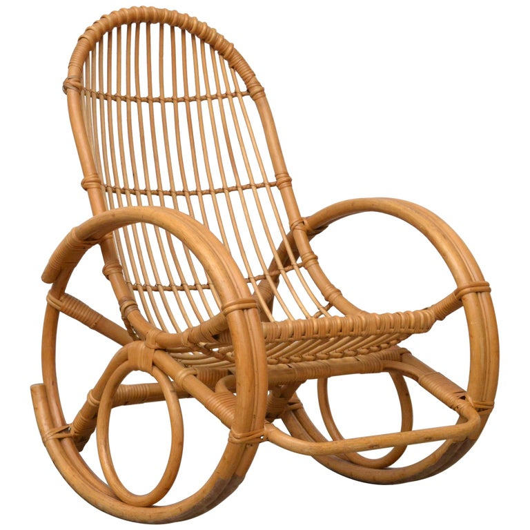Franco Albini Style Bamboo Rocking Chair For Sale