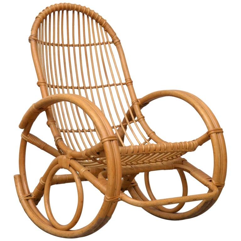 Franco Albini Style Bamboo Rocking Chair