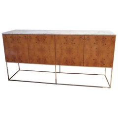 Milo Baughman Sideboard Olive Ash Burl and Marble for Thayer Coggin, 1970s