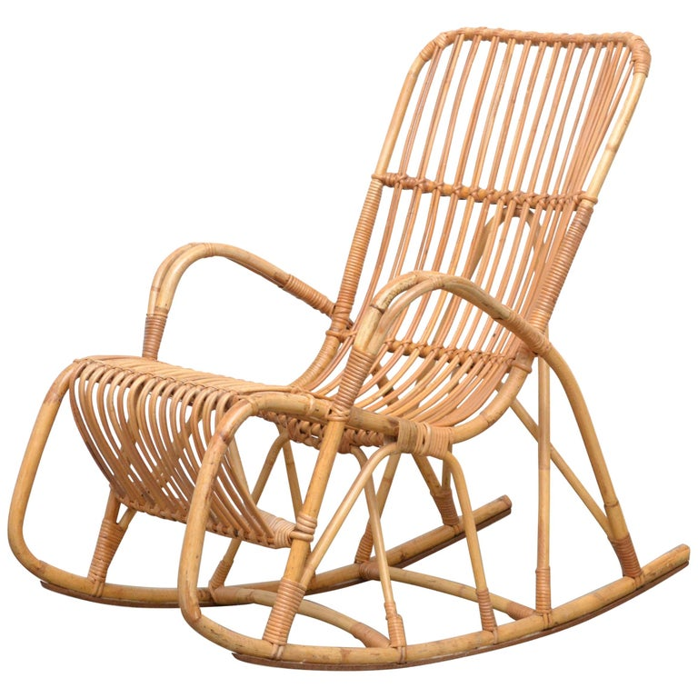 Rohe Noordwolde Bamboo Rocking Chair For Sale