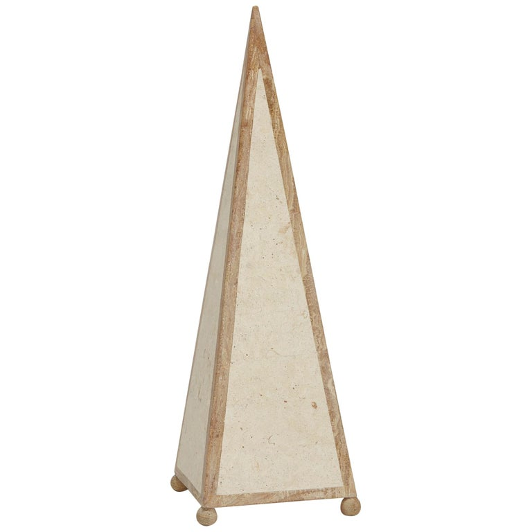 25 in. Tall Decorative Tessellated Stone Pyramid Obelisk, 1990s