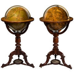 Pair of 19th Century Timber Globes by Crutchley's