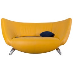 Leolux Danaide by Stefan Heiliger Leather Sofa Yellow Two-Seat