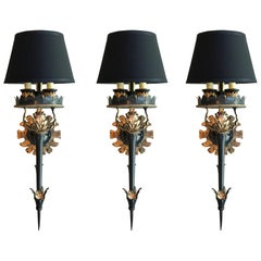 Midcentury Wall Sconces, Set of Three