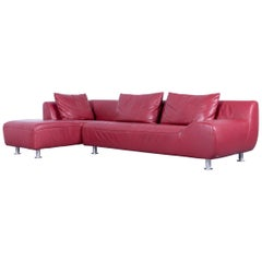 Koinor Leather Corner Sofa Red Four-Seat Function
