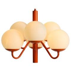 Original 1960s Kaiser Leuchten Opal Glass Ceiling Pendant Lamp in Orange