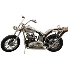 20th Century Italian Sterling Silver Miniature Triumph Motorbike Rubber Tires