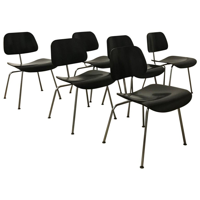 1946, Ray and Charles Eames for Vitra, Set of Six DCM Chairs in Black