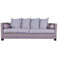 De Sede 300 Edition Designer Leather Fabric Sofa Grey Three-Seat Couch