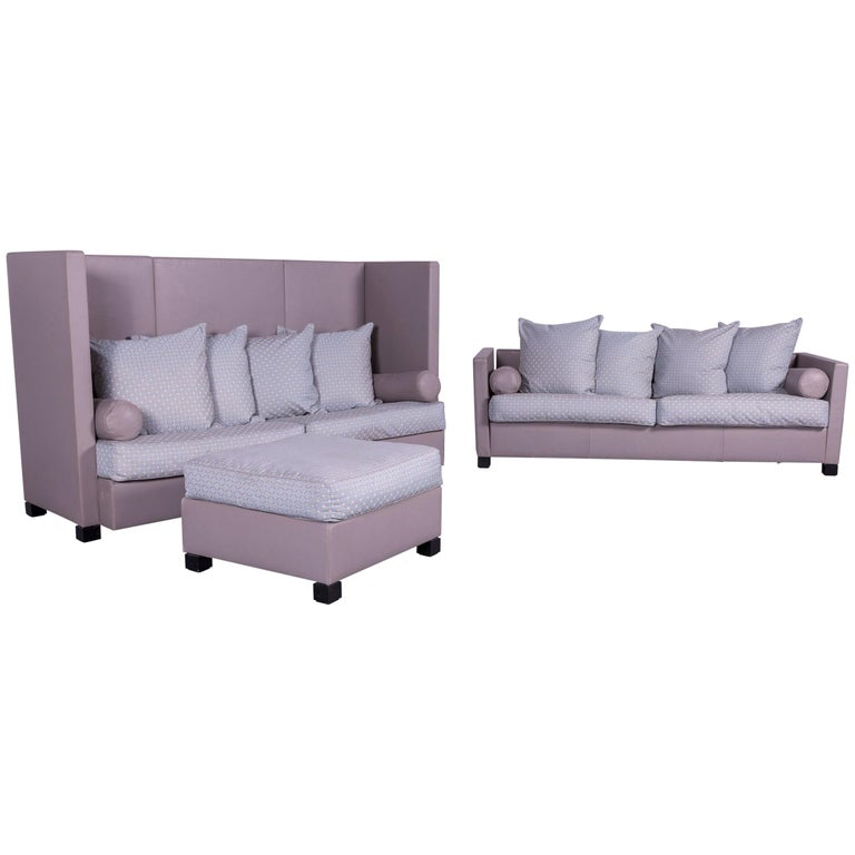 De Sede 300 Edition Designer Leather Fabric Sofa Foot Stool Set Grey Three Seat