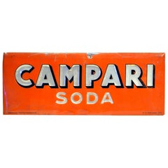 1950s Rare Vintage Italian Red Campari Soda Sign