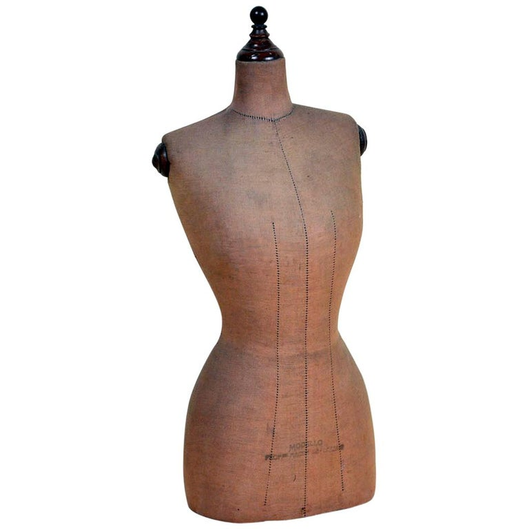 1930s Vintage Italian Female Wooden Bust Form