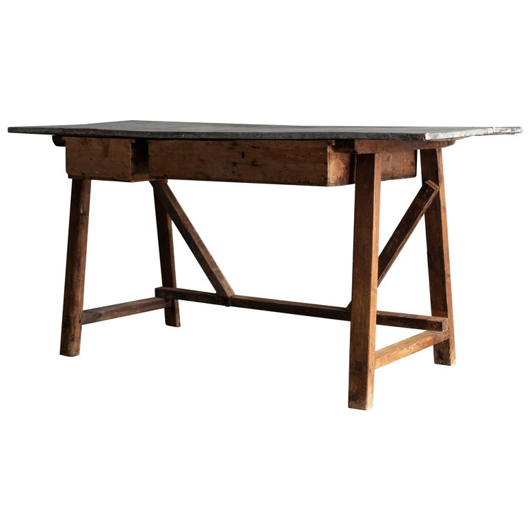 Zinc Top Primitive Working Table from Italy, 1870s For Sale