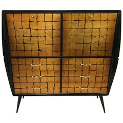 1950s Black and Gold Leaf Cabinet, Italy