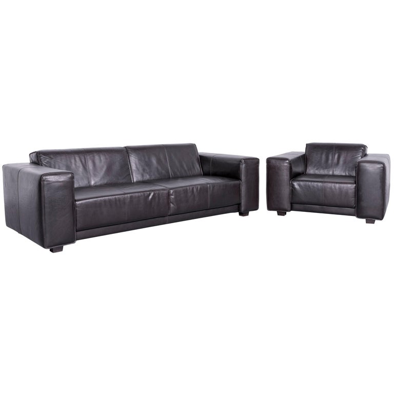 Machalke Navaronne Leather Sofa Set Three-Seat Couch and Armchair For Sale