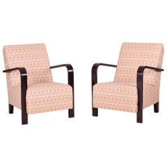 Completely Restored Pair of Art Deco Armchairs, New Upholstery, Dark Oak
