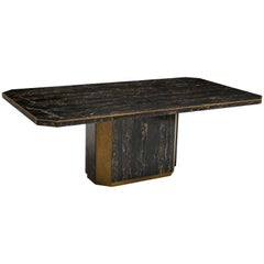 Paco Rabanne Black Portoro Marble Dining Table Bronze Detail, France, 1980