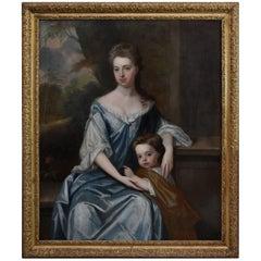 Large 18th Century Portrait Oil on Canvas 'Lady & Child'