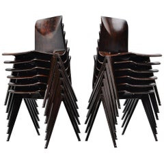 Pagholz Industrial Stacking Chairs Brown, Germany, 1970