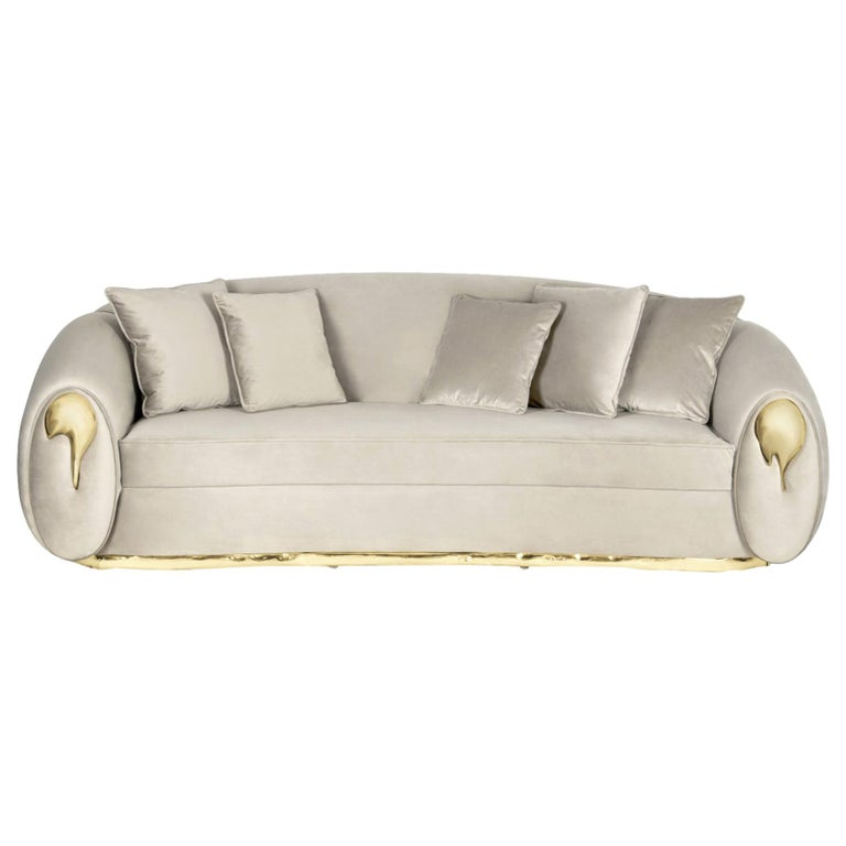Eclat Sofa with Genuine Leather and Polished Brass