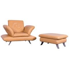 Koinor Rossini Designer Leather Armchair Foot-Stool Set, Beige One Seat