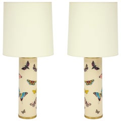 Late 20th Century Pair Fornasetti Farfalle Butterfly Table Lamps, Italy